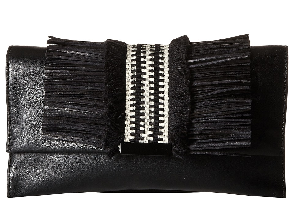 Loeffler Randall - Tab Clutch (Black Nappa/Black Mix Fringe) Clutch Handbags