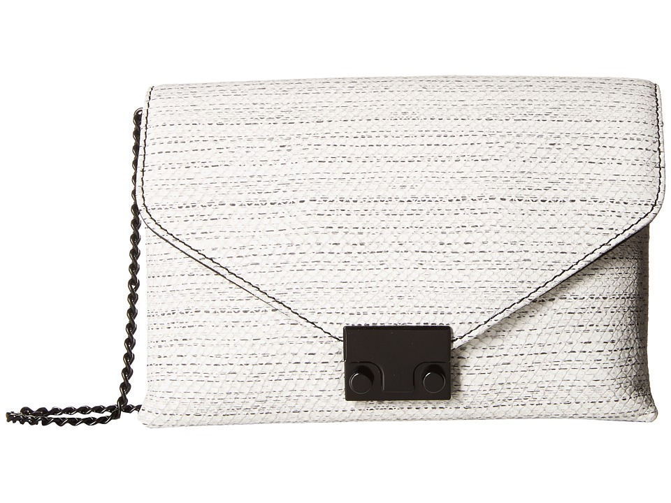 Loeffler Randall - Junior Lock Clutch (White/Black Hashmark Embossed Leather) Clutch Handbags