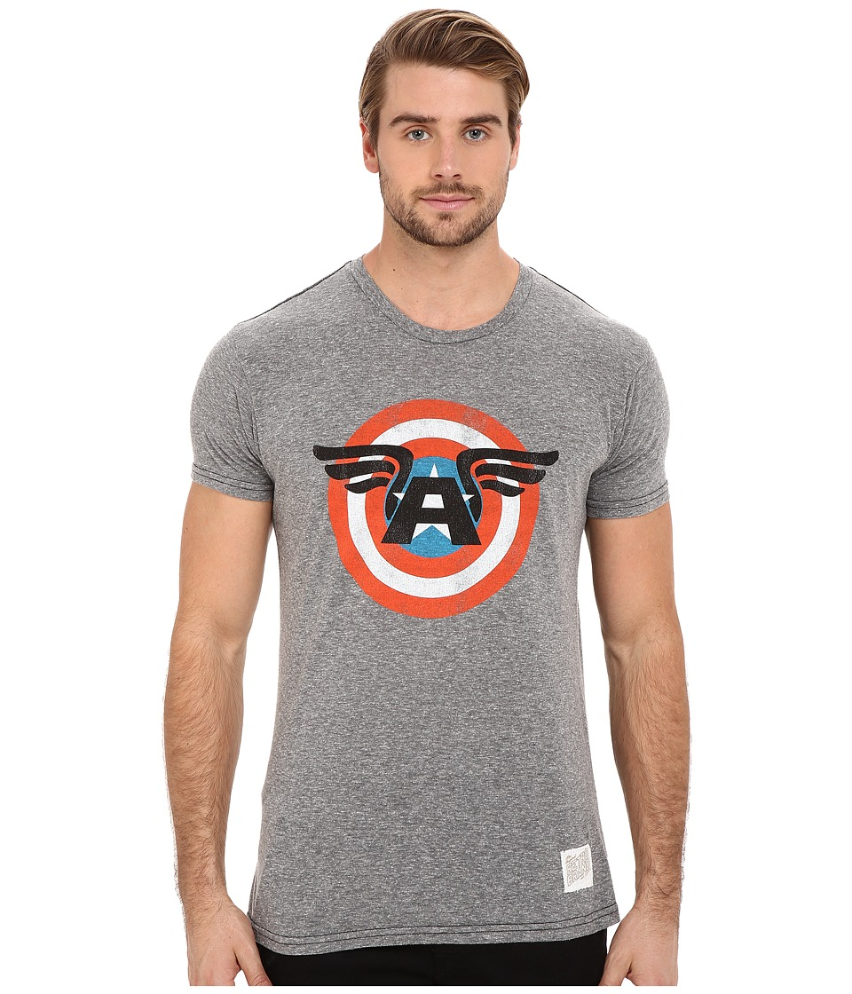 The Original Retro Brand - Tri-Blend Short Sleeve Captain America Tee (Streaky Grey) Men's Short Sleeve Pullover