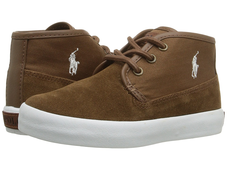 Polo Ralph Lauren Kids Waylon Mid (Toddler) (Snuff Suede/Herringbone  Twill/Cream Pony Player) Boy's Shoes