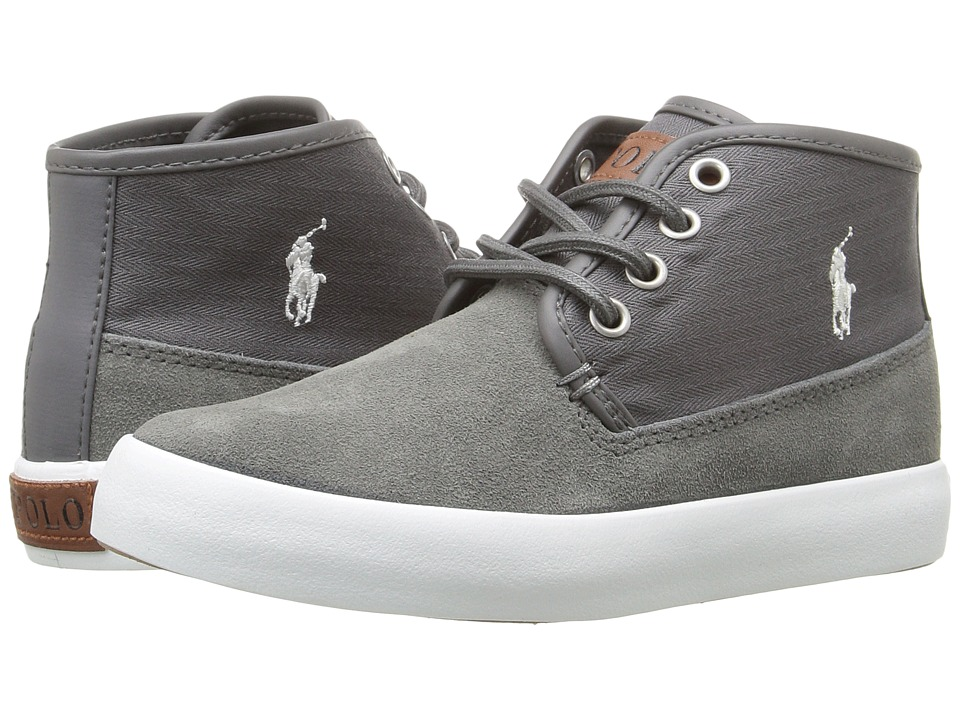 Polo Ralph Lauren Kids - Waylon Mid (Little Kid) (Grey Suede/Herringbone Twill/Cream Pony Player) Boy's Shoes