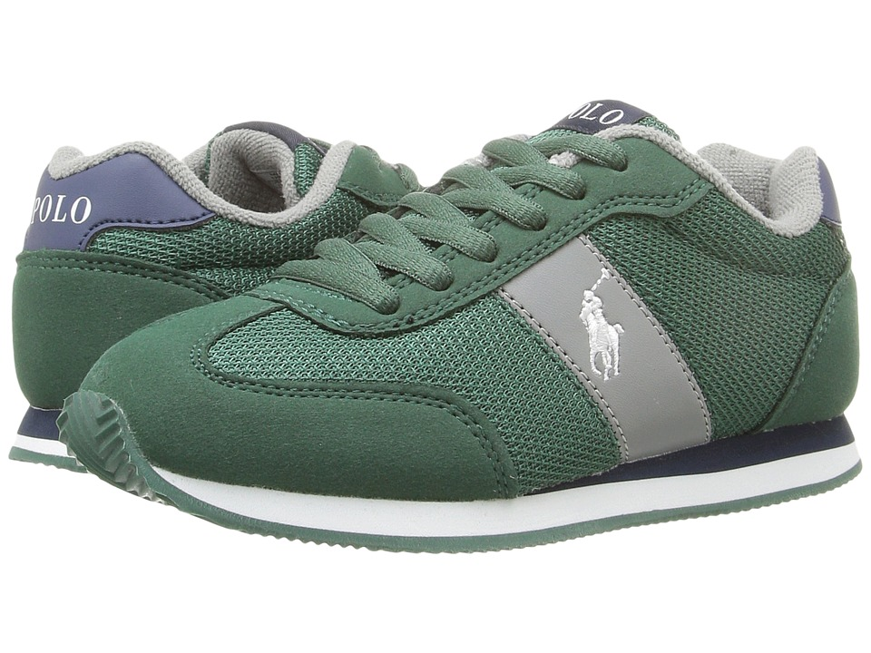 Polo Ralph Lauren Kids - Zuma (Little Kid) (Dark Green Mesh/Microfiber/White Pony Pony Player) Boy's Shoes