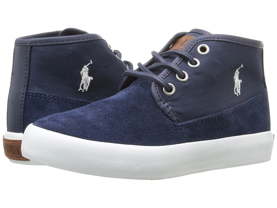 Polo Ralph Lauren Kids - Waylon Mid (Little Kid) (Navy Suede/Herringbone Twill/Cream Pony Player) Boy's Shoes