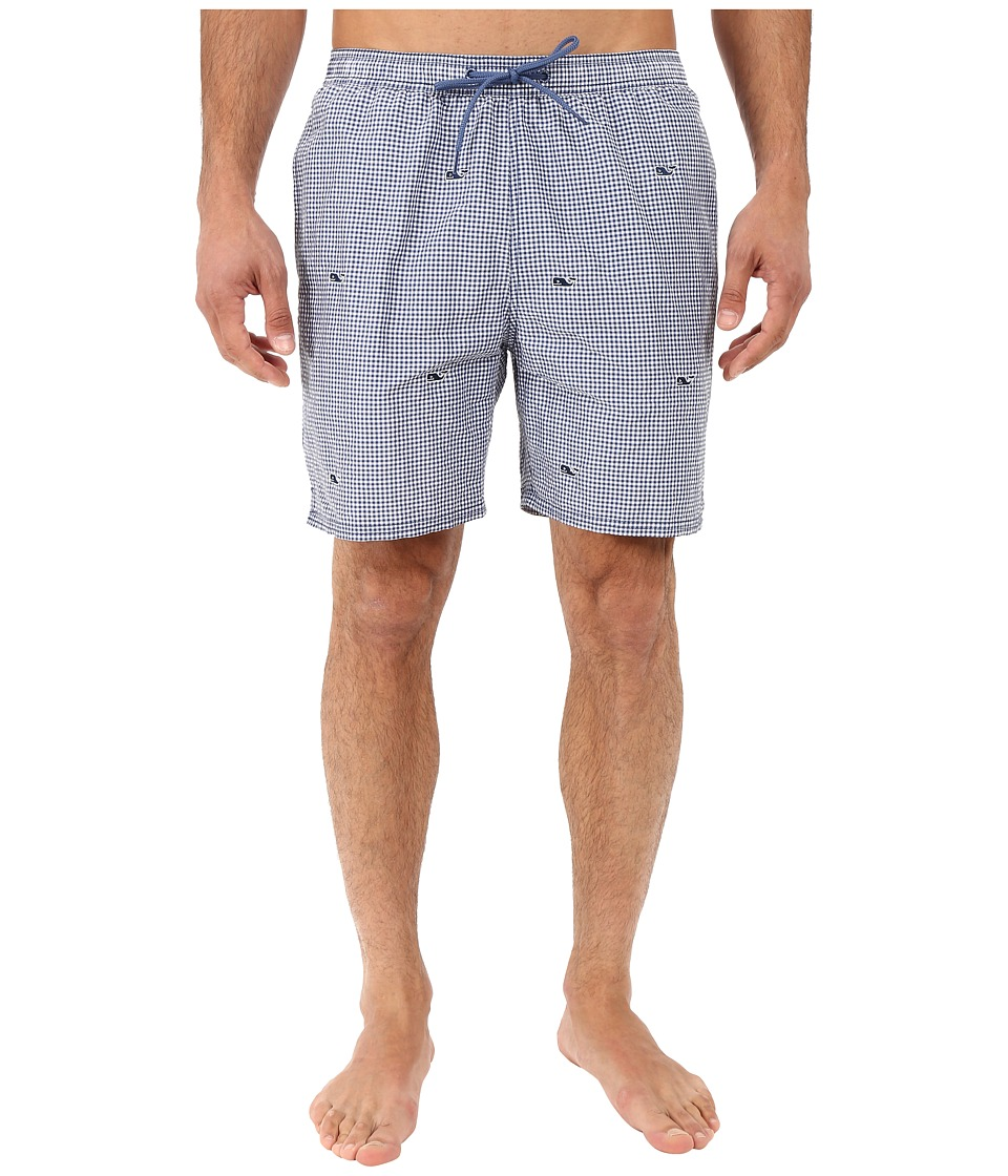 Vineyard Vines - Micro Gingham 5 Bungalow Shorts (Moonshine) Men's Swimwear