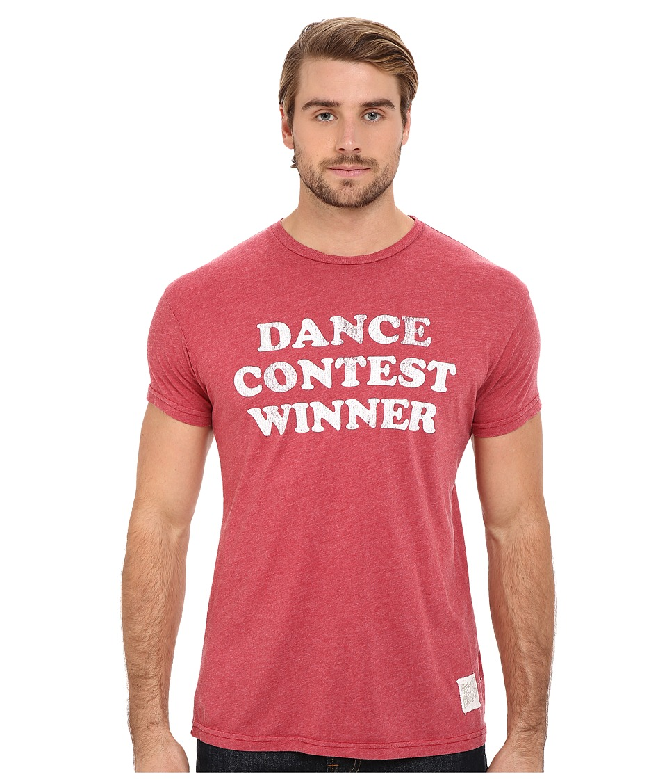 The Original Retro Brand - Heathered Short Sleeve Dance Contest Tee (Heather Dark Red) Men's Short Sleeve Pullover