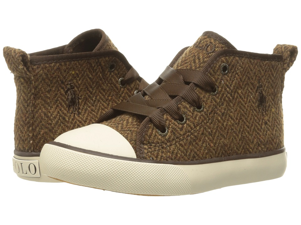 Polo Ralph Lauren Kids - Sag Harbour Hi (Toddler) (Brown Herringbone Tweed/Chocolate Pony Player) Girl's Shoes
