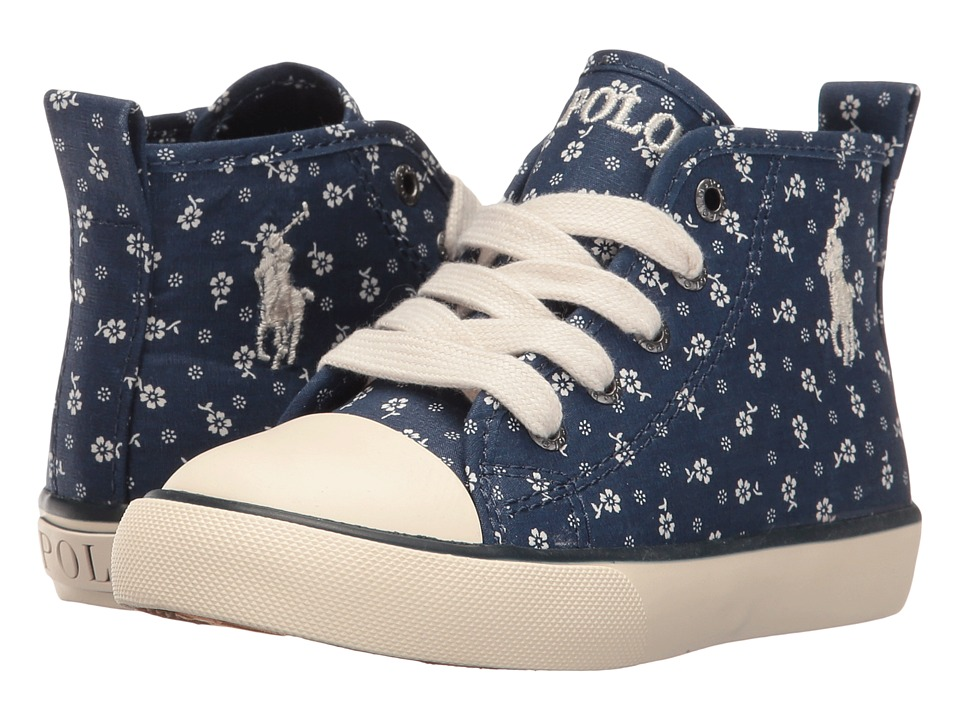 Polo Ralph Lauren Kids - Sag Harbour Hi (Toddler) (Indigo Micro Floral/Navy Pony Player) Girl's Shoes