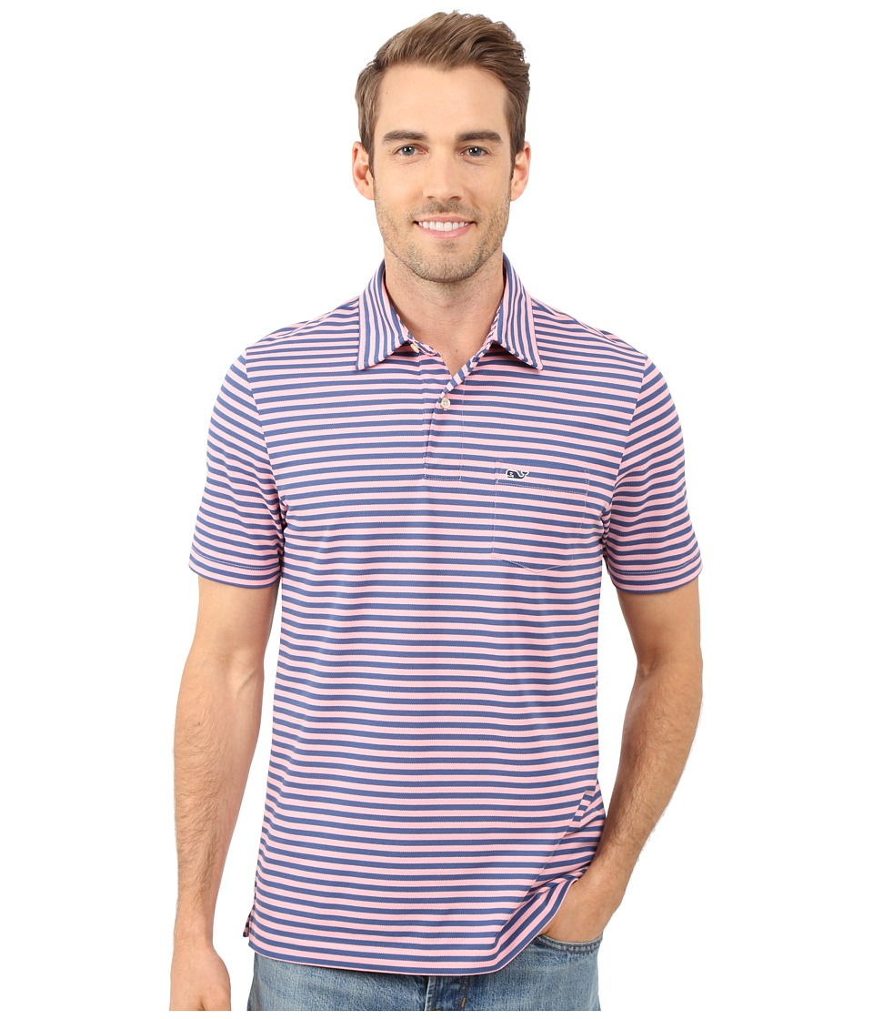 Vineyard Vines - Cotton Polyester Performance Feeder Stripe Polo (Hibiscus) Men's Clothing