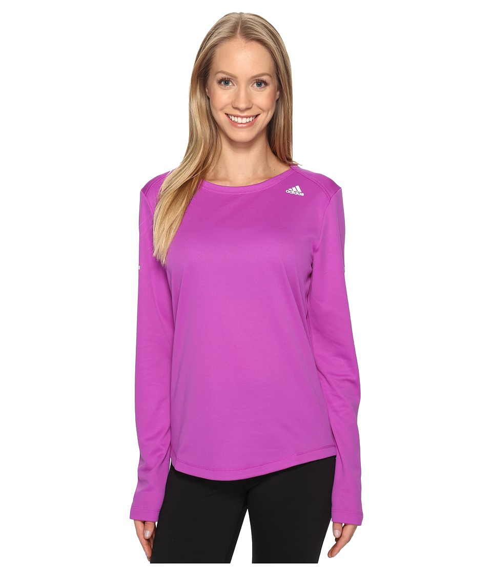 adidas - Run Long Sleeve Tee (Shock Purple) Women's Long Sleeve Pullover