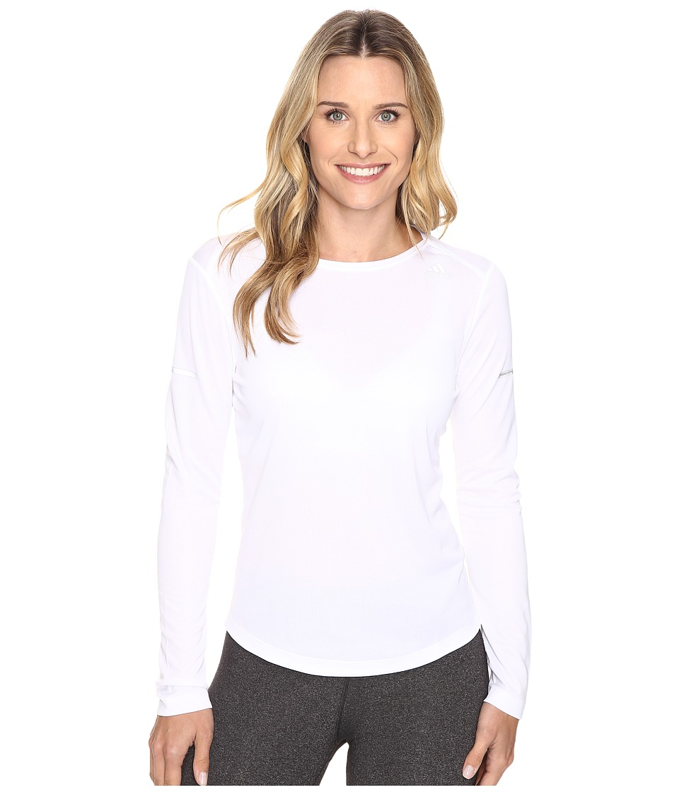 adidas - Run Long Sleeve Tee (White) Women's Long Sleeve Pullover