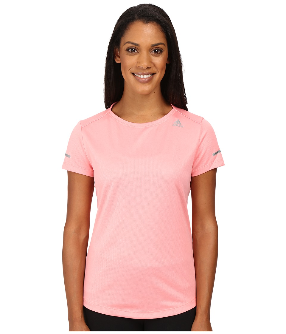 adidas - Run Short Sleeve Tee (Ray Pink) Women's Short Sleeve Pullover