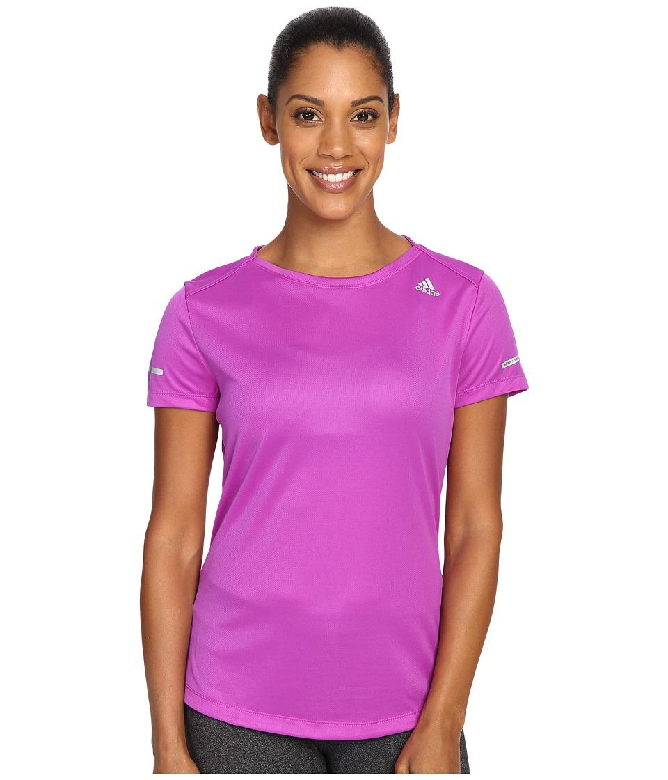 adidas - Run Short Sleeve Tee (Shock Purple) Women's Short Sleeve Pullover
