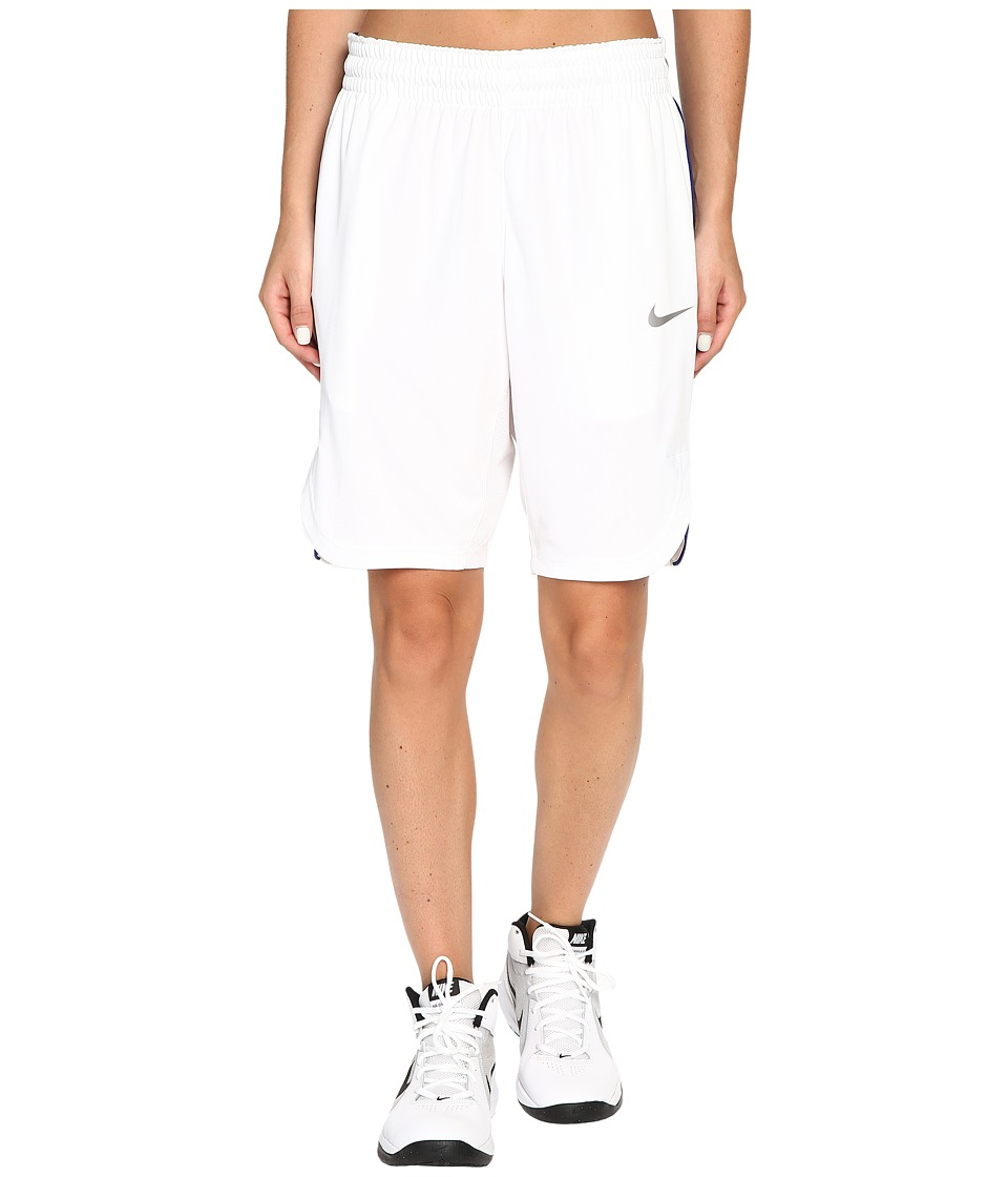 Nike - Elite Basketball Short (White/Deep Royal Blue/Matte Silver) Women's Shorts