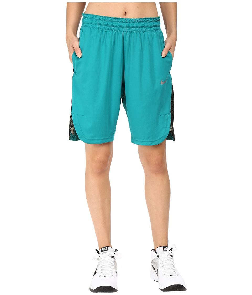 Nike - Elite Basketball Short (Rio Teal/Black/Matte Silver) Women's Shorts