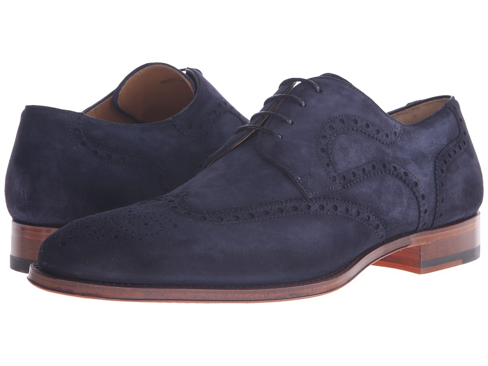 Magnanni - Sebastian (Navy) Men's Lace Up Wing Tip Shoes