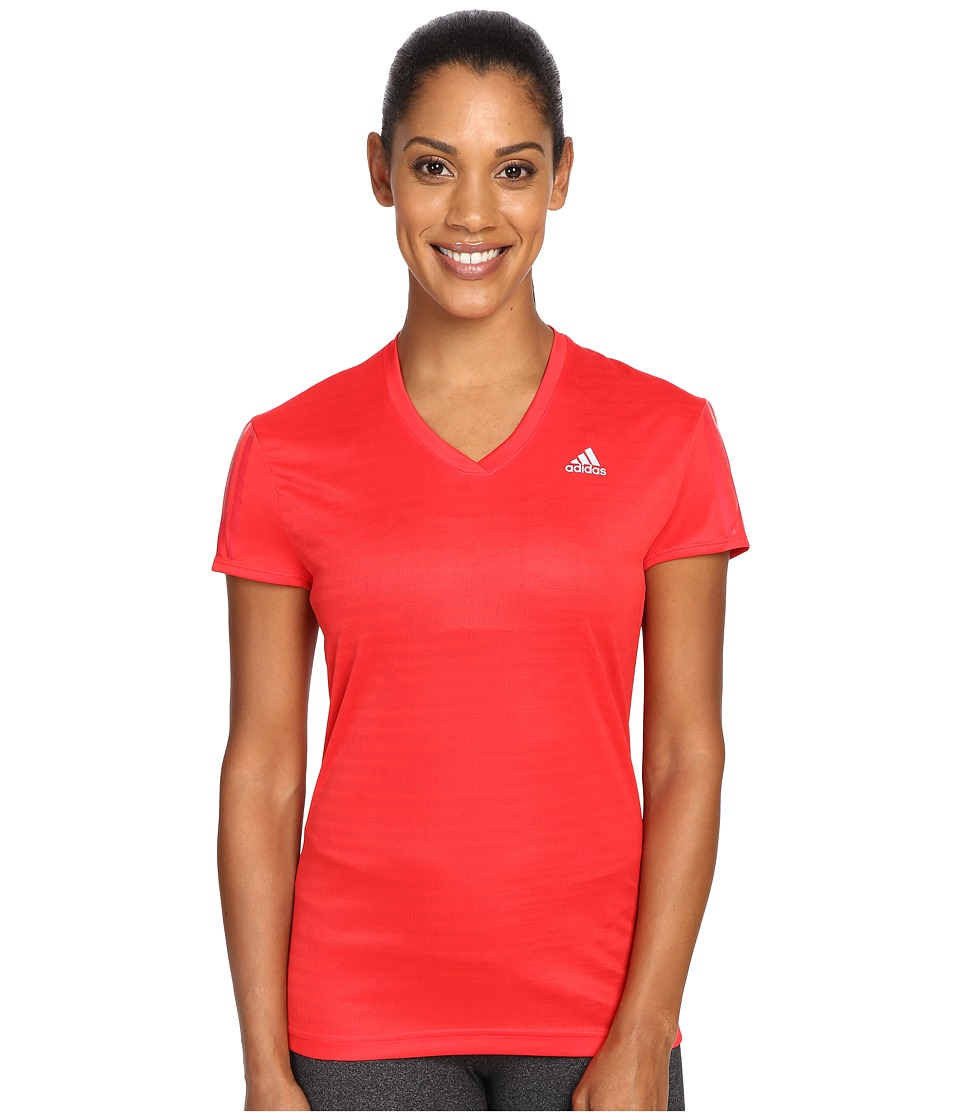 adidas Response Short Sleeve Tee (Ray Red/Reflective Silver) Women