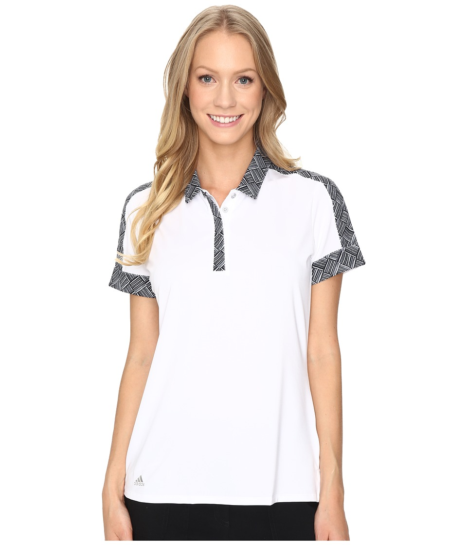adidas Golf - Sport Print Short Sleeve Polo (White) Women's Short Sleeve Pullover