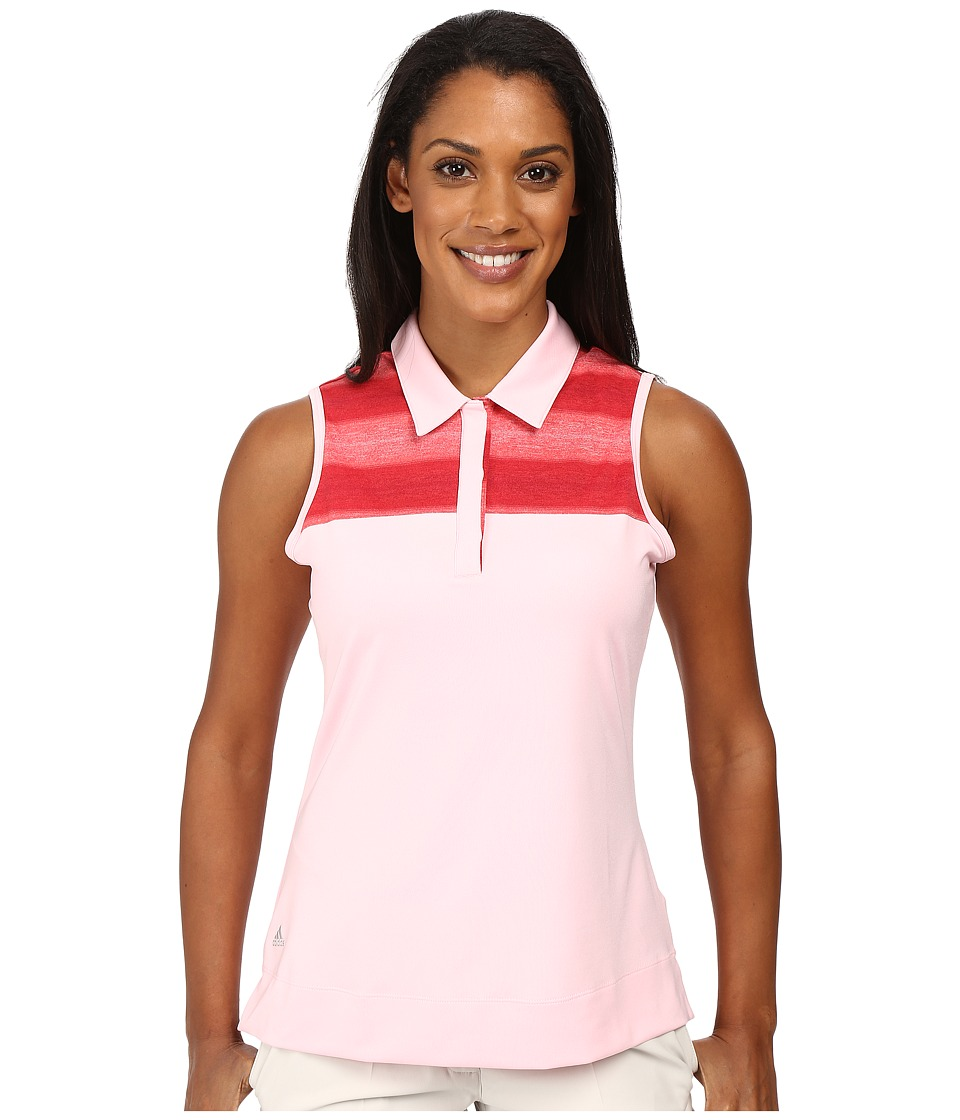 adidas Golf - Melange Stripe Sleeveless Polo (Rose Shadow) Women's Sleeveless