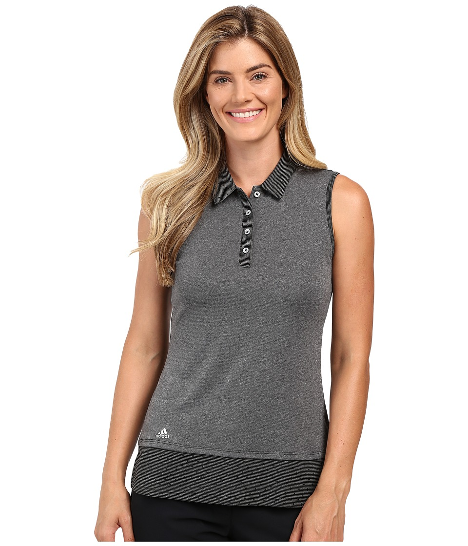 adidas Golf - Diamond Print Sleeveless Polo (Black) Women's Sleeveless