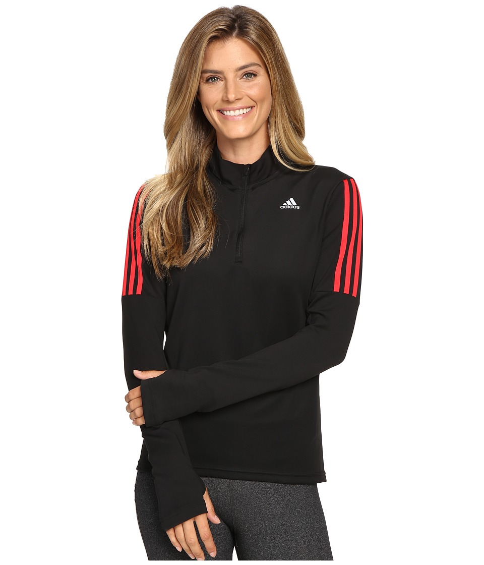 adidas - Response Long Sleeve 1/2 Zip Tee (Black/Ray Red) Women's T Shirt