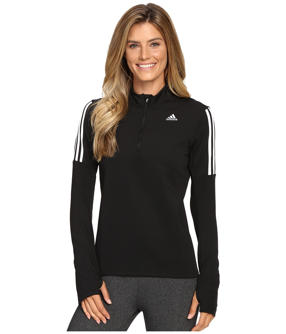 adidas - Response Long Sleeve 1/2 Zip Tee (Black/White) Women's T Shirt