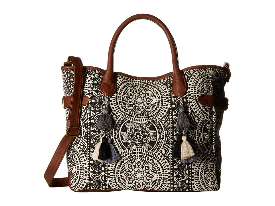 Gabriella Rocha - Amber Printed Tote with Tassels (Black) Tote Handbags