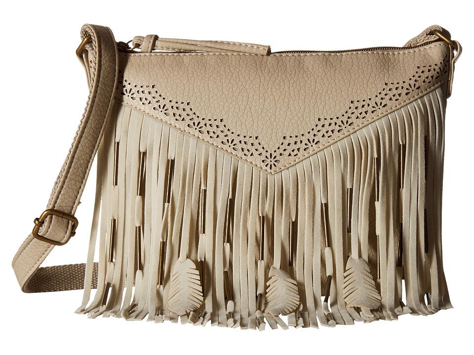 Gabriella Rocha - Jaelyn Crossbody with Fringe and Feather Detail (Bone) Cross Body Handbags