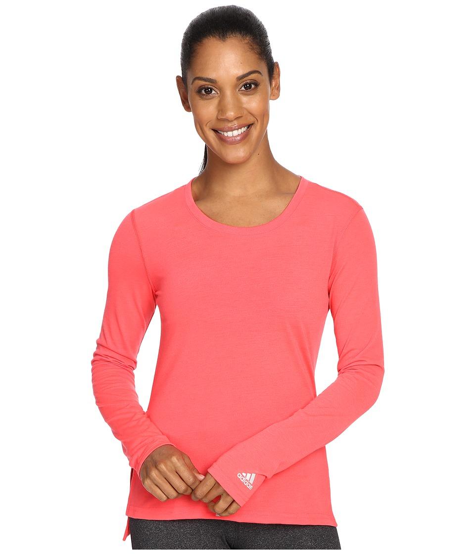 adidas - Ultimate Long Sleeve Side-Slit Tee (Shock Red/Matte Silver) Women's T Shirt