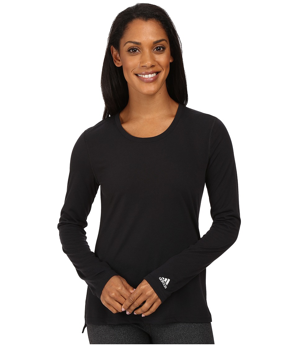 adidas - Ultimate Long Sleeve Side-Slit Tee (Black/Matte Silver) Women's T Shirt