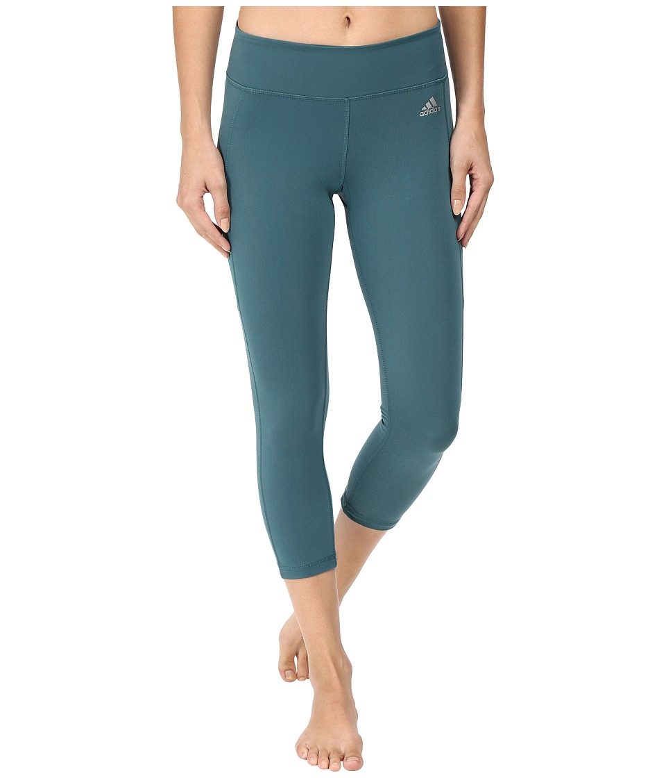 adidas - Clima Studio Mid Rise 3/4 Tights (Tech Green/Matte Silver) Women's Workout