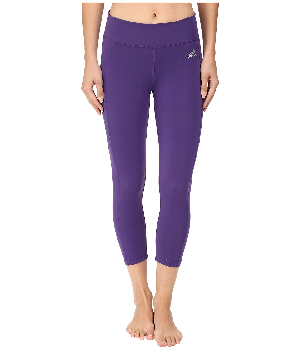 adidas - Clima Studio Mid Rise 3/4 Tights (Unity Purple/Matte Silver) Women's Workout