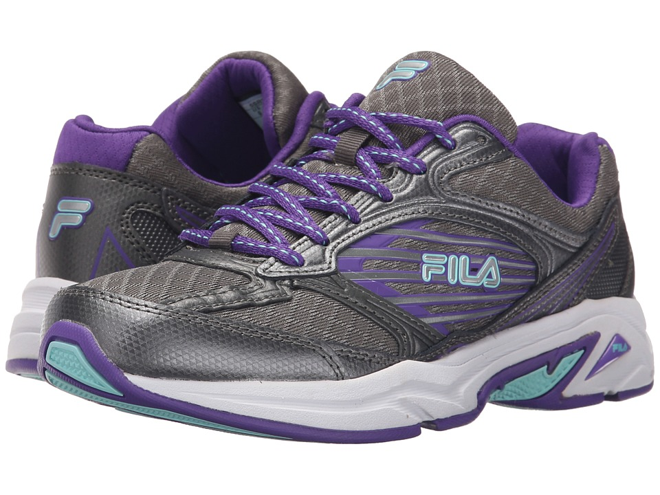 Fila - Inspell 3 (Dark Silver/Electric Purple/Aruba Blue) Women