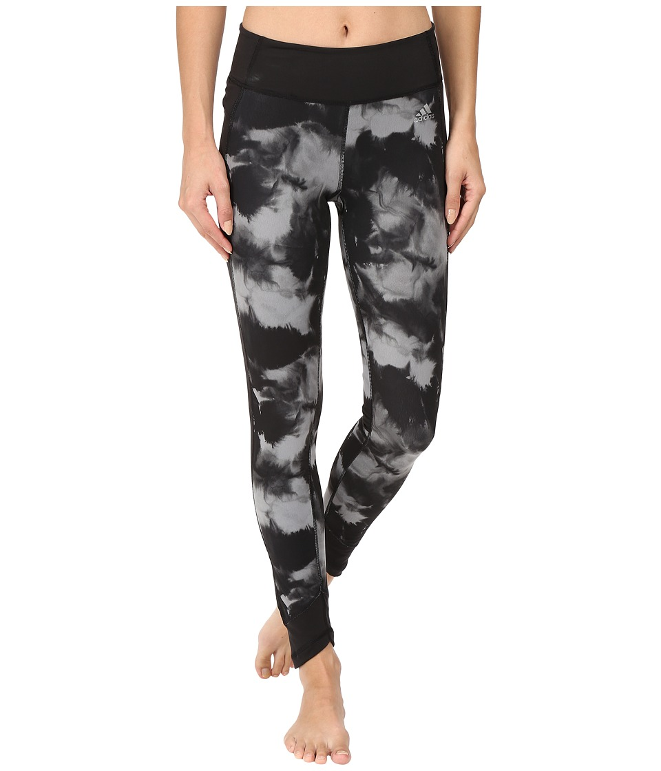 adidas - Clima Studio Mid-Rise Long Tights - Painter's Block (Black/Print/Matte Silver) Women's Casual Pants