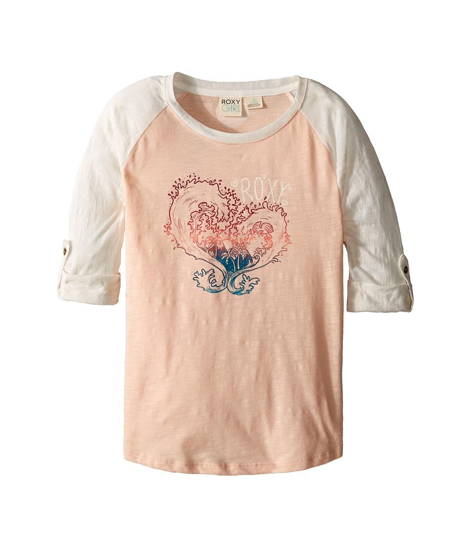 Roxy Kids - Waved Heart Tee (Big Kids) (Pale Peach) Girl's Long Sleeve Pullover