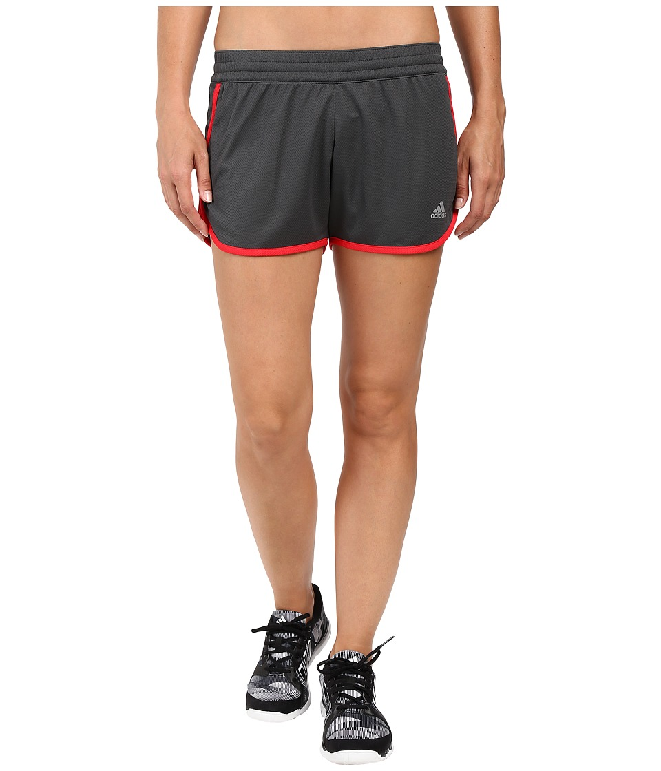 adidas - 100M Dash Knit Shorts (Solid Grey/Ray Red/Matte Silver) Women's Shorts