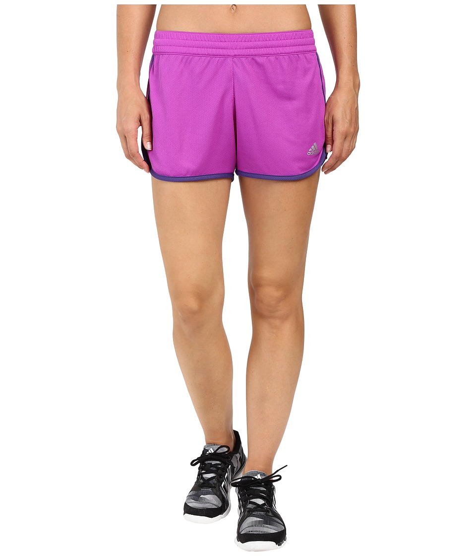 adidas - 100M Dash Knit Shorts (Shock Purple/Unity Purple/Matte Silver) Women's Shorts