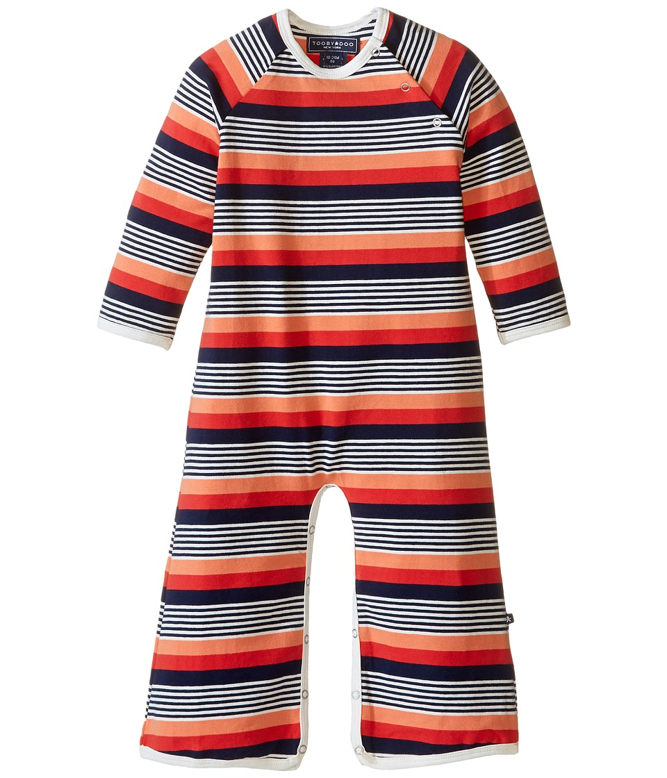 Toobydoo - Multi Stripe Long Sleeve Bootcut Jumpsuit (Infant) (Navy/Orange/White/Red) Boy's Jumpsuit & Rompers One Piece