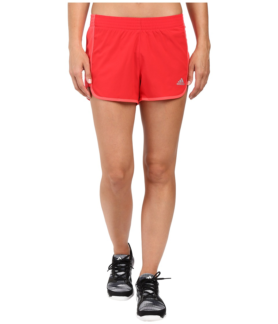 adidas - 100M Dash Woven Shorts (Ray Red/Shock Red/Matte Silver) Women's Shorts
