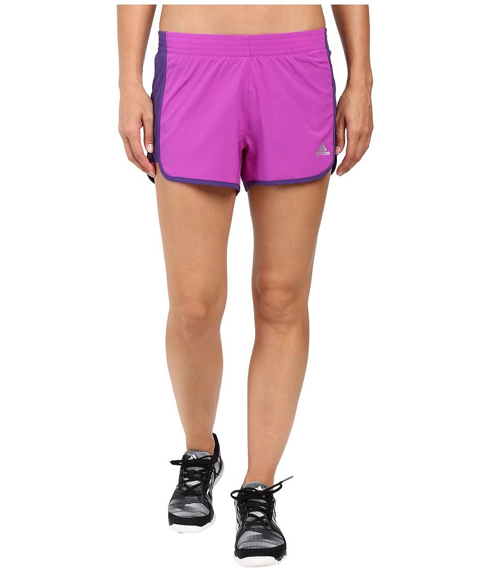 adidas - 100M Dash Woven Shorts (Shock Purple/Unity Purple/Matte Silver) Women's Shorts