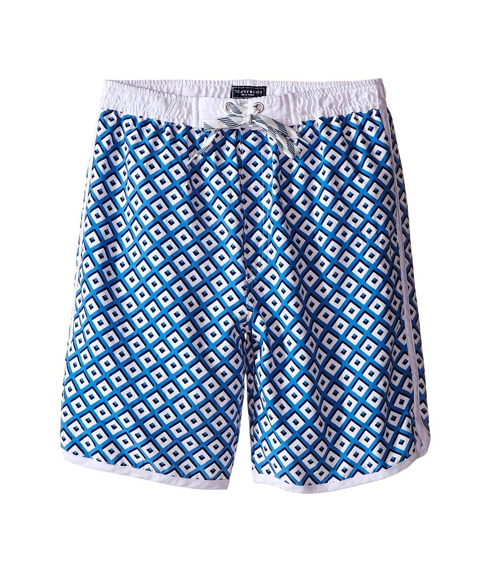 Toobydoo White Lace Drawstring Boardshorts/White Lining (Infant/Toddler/Little Kids/Big Kids) (Blue/White) Boy