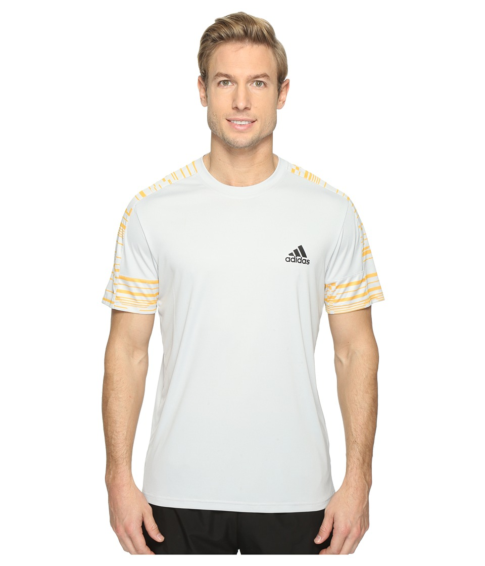 adidas - Climacore Short Sleeve Tee Sport Glitch (Light Solid Grey/Solar Gold) Men's T Shirt