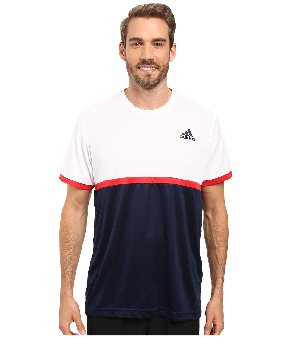 adidas - Court Tee (Collegiate Navy/White/Ray Red) Men's Short Sleeve Pullover