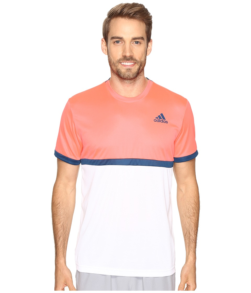 adidas - Court Tee (White/Flash Red/Tech Steel) Men's Short Sleeve Pullover