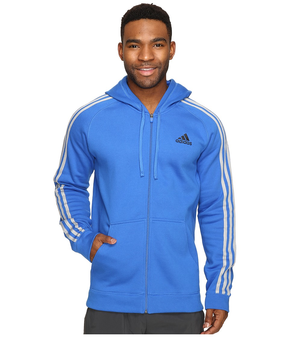 adidas - Essentials Cotton Fleece 3-Stripes Full Zip Hoodie (Blue/Medium Grey Heather/Solid Grey) Men's Sweatshirt