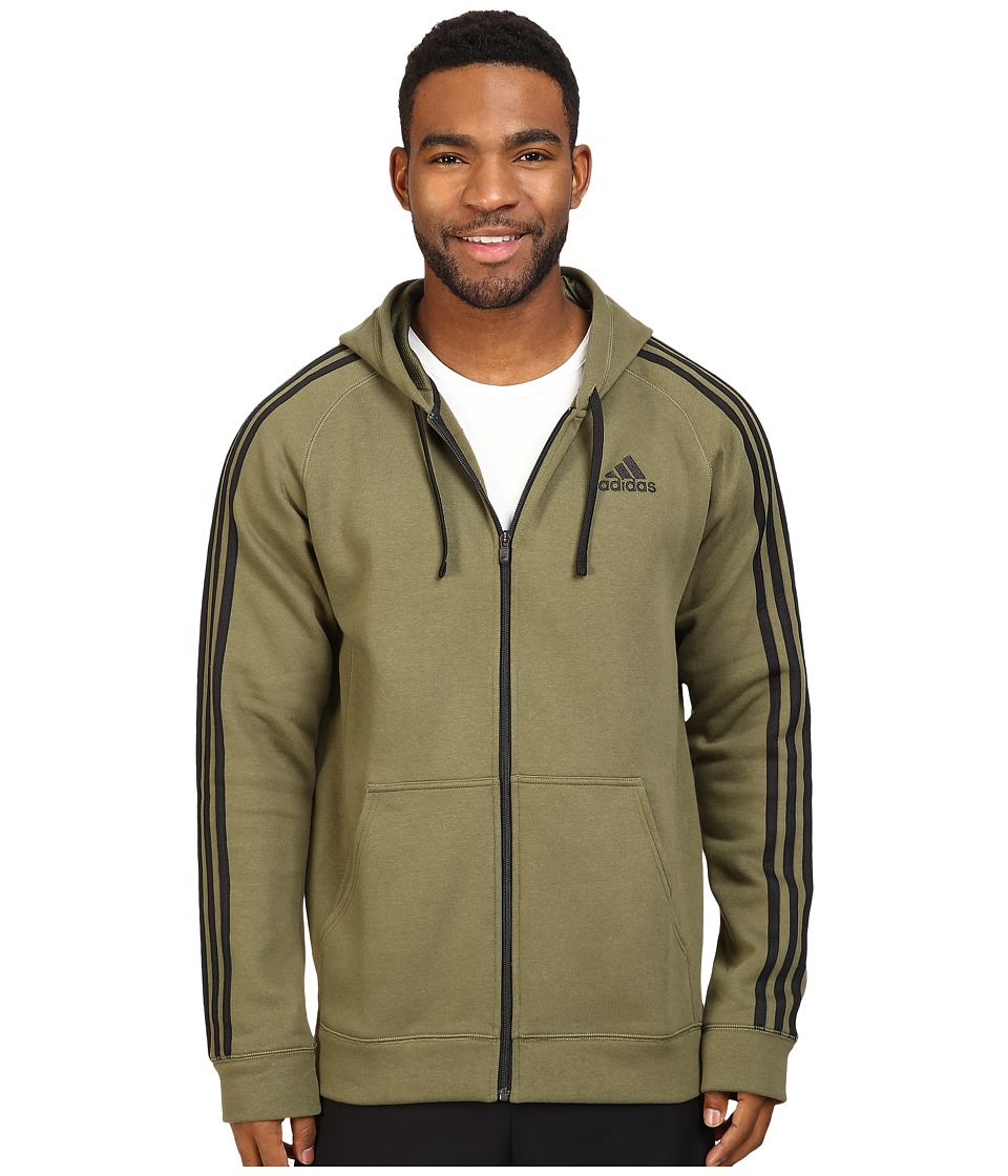 adidas - Essentials Cotton Fleece 3-Stripes Full Zip Hoodie (Olive Cargo/Black) Men's Sweatshirt