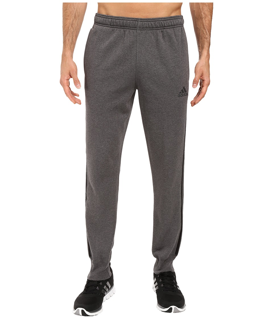 adidas - Essentials Cotton Fleece 3-Stripes Jogger (Dark Grey Heather/Black) Men's Clothing