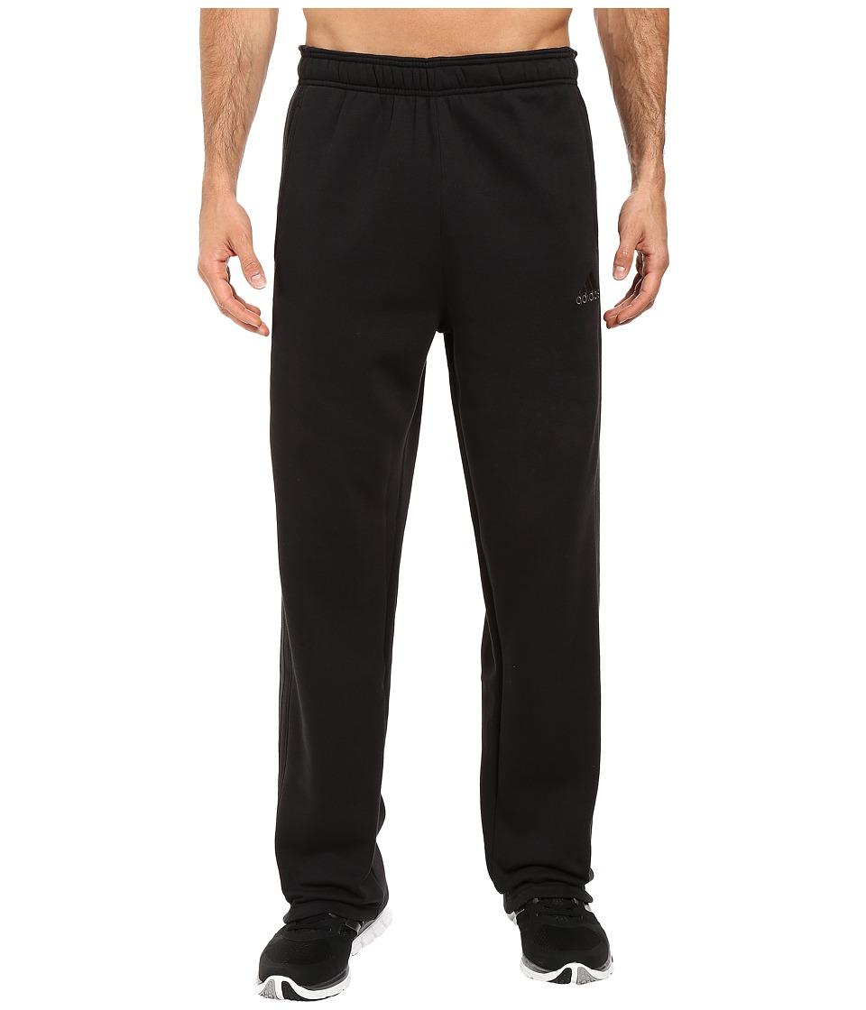 adidas - Essentials Cotton Fleece 3-Stripes Pants (Black/Dark Grey Heather/Solid Grey) Men's Casual Pants