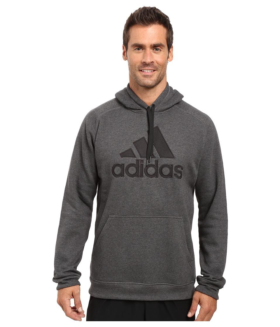 adidas - Essentials Cotton Fleece Pullover Hoodie (Dark Grey Heather/Black) Men's Sweatshirt