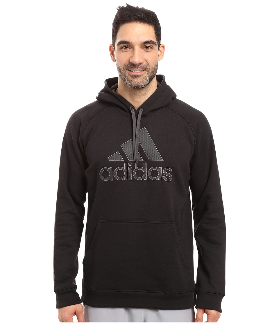 adidas - Essentials Cotton Fleece Pullover Hoodie (Black/Dark Grey Heather/Solid Grey) Men's Sweatshirt