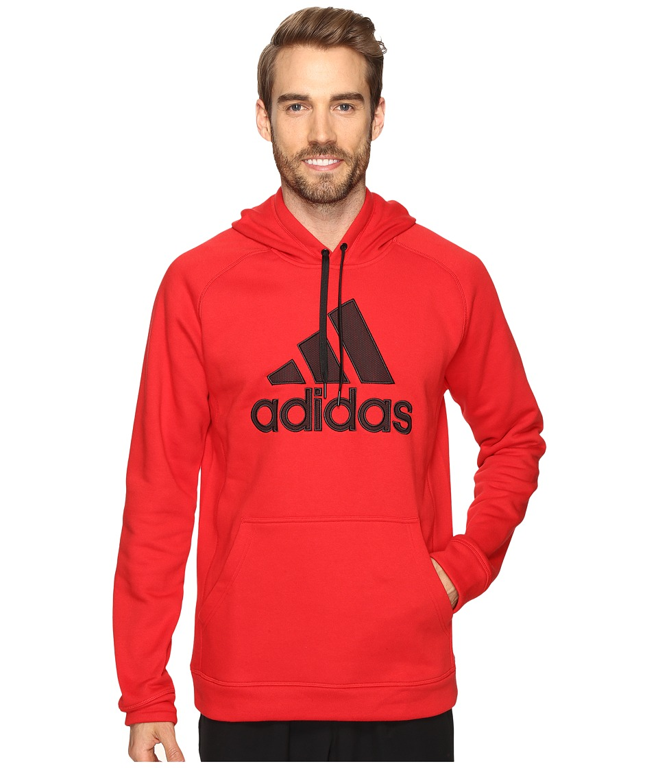 adidas - Essentials Cotton Fleece Pullover Hoodie (Scarlet/Black) Men's Sweatshirt